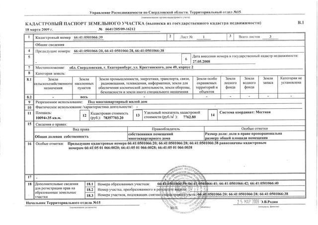 Кадастровый паспорт земельного участка в 2017 году